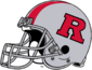NCAA-Big 10-Rutgers Scarlet Knights Silver striped helmet-Right side-silver facemask