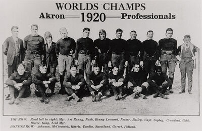 "A group of 18 men, 11 standing in back and seven sitting in front. Above the men, centered in the middle of the poster, is text that says ""Worlds Champs"". Under that is the phrase ""Akron Professionals"" - the year 1920 is placed between ""Akron"" and ""Professionals""."