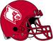NCAA-ACC-Louisville Cardinals Red helmet-white logo-red fasemask