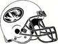 NCAA-SEC-Mizzou Tigers White & Black Helmet w. Black facemsk