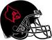 NCAA-ACC-Louisville Cardinals All-Black helmet-inverted cardinal red logo-black fasemask