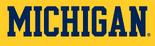 NCAA-Big 10-1996 Michigan Wolverines blue wordmark-maize background