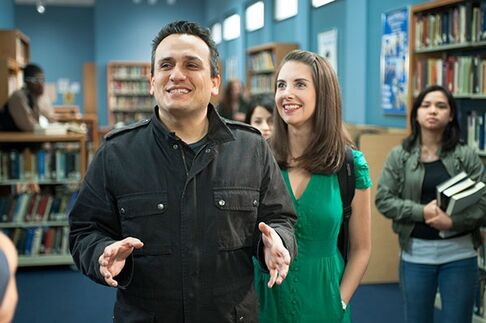 Joe Russo and Alison Brie on Set