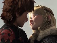 Astrid and Hiccup right after finishing their kiss