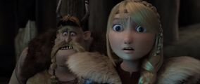 Astrid and Gobber having seen the blue light coming from within the ice