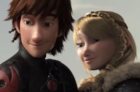 Hiccup and Astrid looking at Gothi
