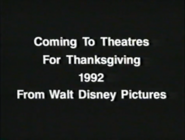 Coming To Theatres For Thanksgiving 1992 From Walt Disney Pictures