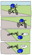 United falls off bicycle