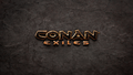 Loading screen with the Conan Exiles logo on a stone-textured background