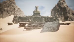 Giant-king Lorestone about Sandswept Ruins.jpg