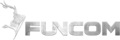 Steel-textured Funcom logo with text on the right