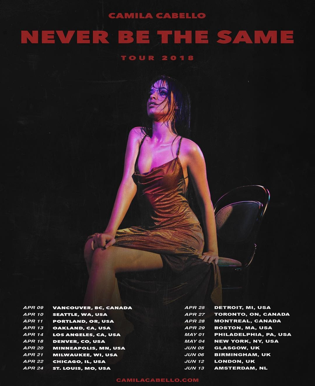 Never Be the Same Tour