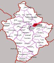 Miasto Wydzielone Prisztina na mapie