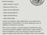 Correspondence: Missing Agents