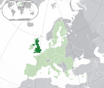 Location of the British Republic (green) and the European Union (light green)