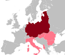 Germany (maroon) and its alleged puppet states (pink).