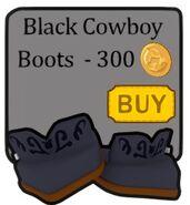 Black cowboy boots in shop