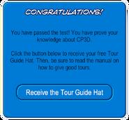 Tour Guide Quiz End Window Succeed