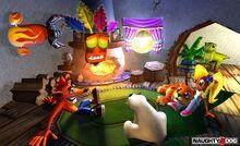 Crash, Coco, Polar, Pura, Aku Aku y Baby T-Rex en el interior de la casa de Crash.jpg