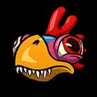 Trex chicken head sticker