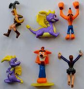 Crash, spyro, lara croft cereal box toys