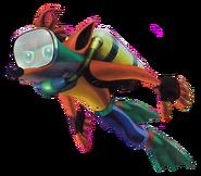 Crash bandicoot warped scuba crash swimming by paperbandicoot-dc0zrn7
