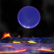 The Planet as Seen from the Volcanic Moon of Roe
