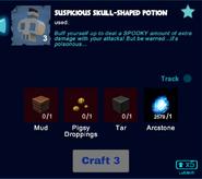 Suspicious skull shaped potion craft