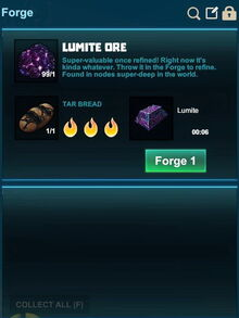 Creativerse Forge Lumite with tar bread 2017-08-07.jpg