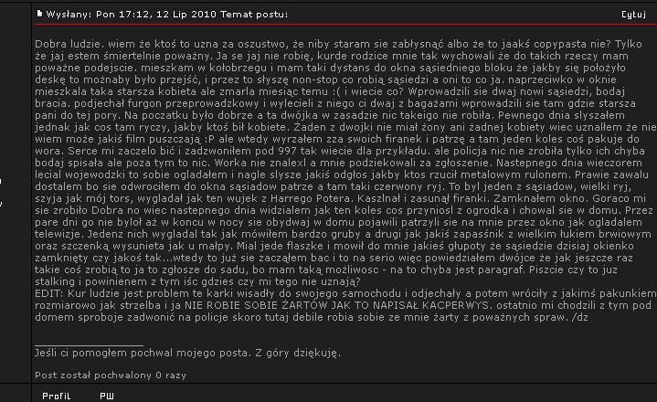 Mężczyzna na forum opisał swoje ostatnie chwile ze swoimi stalkerami