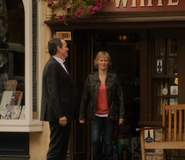 Robbie and Laura leave the pub
