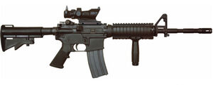 A M4A1 with SOPMOD package, including Rail Interface System (RIS) and Trijicon ACOG 4x.
