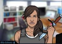 Rita Sosteniendo su cuchillo falso