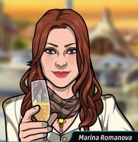 Marina Con una copa de champaña