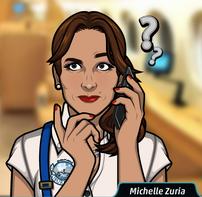 Michelle en el teléfono pensando