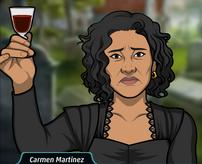 Carmen con una copa de vino
