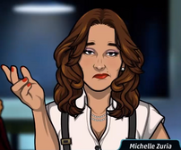 Michelle ceñuda