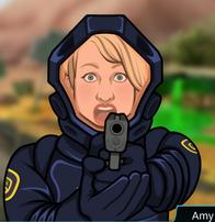 Amy con su arma en A Los Páramos