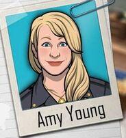 Amy en una promo ''Examen''