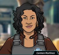 Carmen con un chaleco antibalas