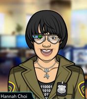 Hannah usando unas nuevas gafas de alta tegnologia