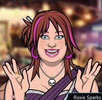 Roxie Con un vestido púrpura
