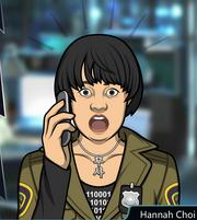 Hannah con el teléfono Shockeada