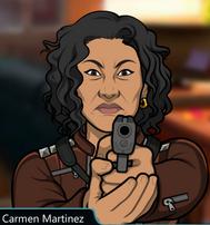 Carmen con su pistola seria