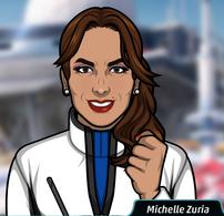 Michelle con un abrigo de invierno
