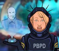 Amy viendo a Alden Greene en un holograma