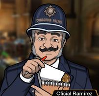 Oficial Ramírez en Puente sobre aguas turbulentes