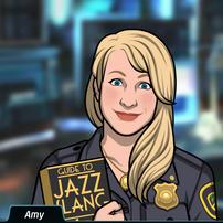 58 Amy con un libro llamado Argot Jazz