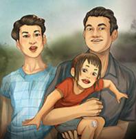 Hannah de pequeña con sus padres