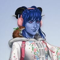 The official art of Jester and Sprinkle. Jester is a blue tiefling woman with purple eyes and blue hair, which is braided in front of her horns. She is wearing pink earmuff and an floral embroidered winter coat. The pink straps of her haversack are visible. Sprinkle is a crimson coloured weasel with a green ribbon tied in a bow around his neck. He is perched on Jesters right shoulder.